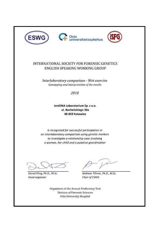 Certyfikaty ISFG testDNA Laboratorium Sp. z o.o.