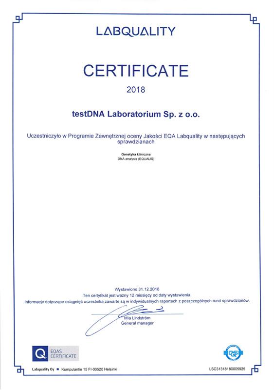 labquality certyfikat